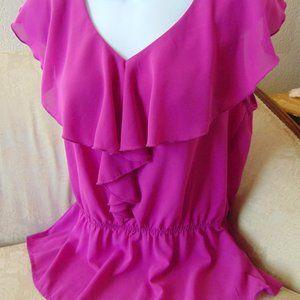 Forever 21 Hot Pink Sleeveless Chiffon Blouse Sz M